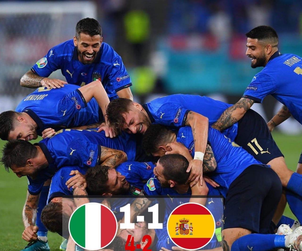 إيطاليا للنهائي الأوروبي بعد تخطي الماتادور الأسباني بركلات الترجيح!